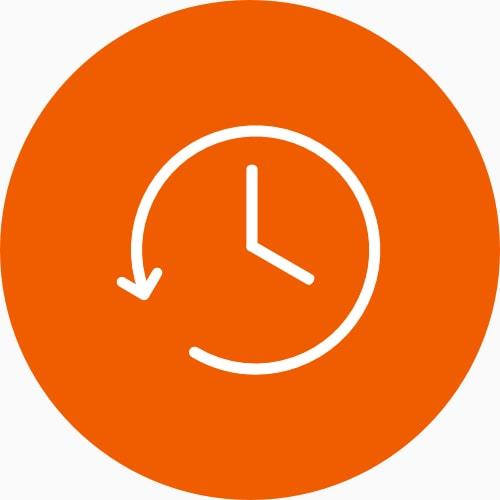 Relógio com uma flecha em sentido anti-horário